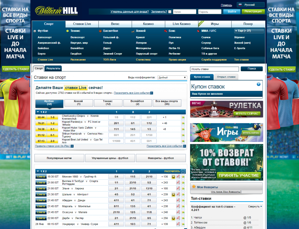 БК William Hill ставки